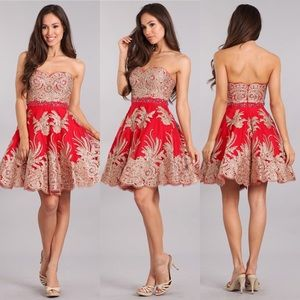 My Fashion 1698 Red with Gold Lace